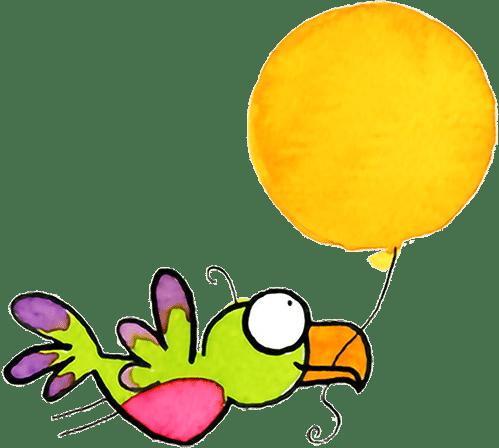vliegende vogel met ballon - illustratie - kraamburo pvg