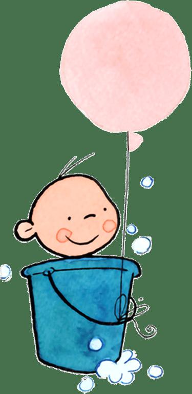 baby in badje met ballon - illustratie - kraamburo pvg